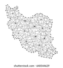 Map of Iran from polygonal black lines and dots of vector illustration