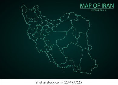 Map of Iran,Green map on dark background of map of Iran symbol for your web site design map. Vector illustration eps 10.