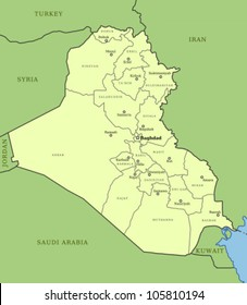 Map of Iraq with provinces (governorates) and major cities: Baghdad, Mosul, Basrah, Kirkuk and others