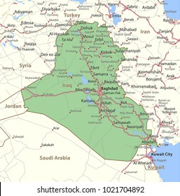 Map of Iraq. Shows country borders, urban areas, place names and roads. Labels in English where possible.Projection: Mercator.