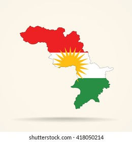 Map of Iraqi Kurdistan in Iraqi Kurdistan flag colors