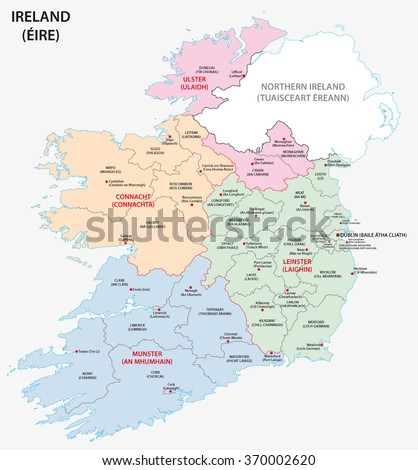 Map Of Ireland And Counties.Map Ireland Administrative Divisions On Counties Stock Vector