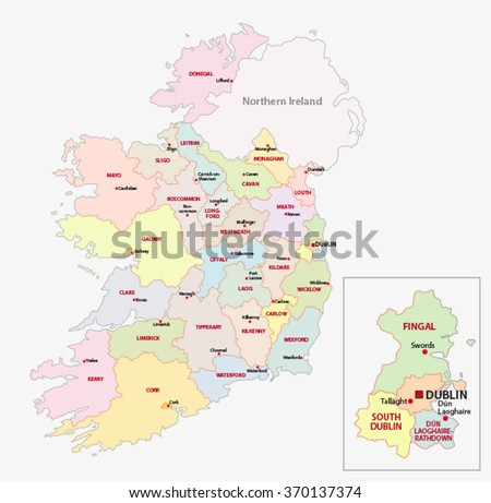 Map Ireland Administrative Divisions On Counties Stock Vector ...