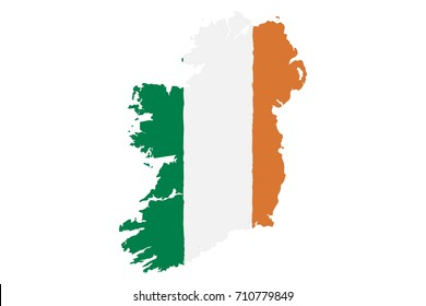 Map of Ireland with Flag. Hand Painted with Brush. Vector Illustration.