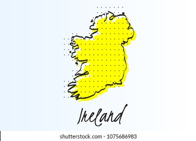 Map of Ireland, halftone abstract background. The black dots on a yellow background. drawn border line. vector illustration