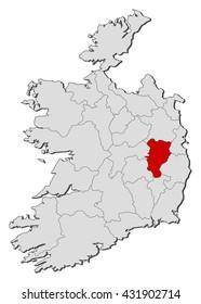 Relief Map Kildare Ireland 3 D Rendering Stock Illustration