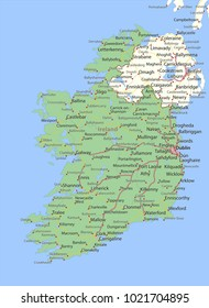 Map of Ireland. Shows country borders, urban areas, place names and roads. Labels in English where possible.Projection: Mercator.