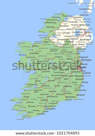 Country Map Of Ireland.Map Ireland Shows Country Borders Urban Stock Vector Royalty Free