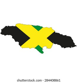 map of the island of Jamaica, painted in the colors of the national flag