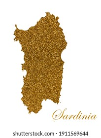 Map of the island of Sardinia. Silhouette with golden glitter texture. Vector Illustration