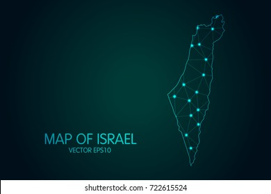 Map of Israel - With glowing point and lines scales on the dark gradient background, 3D mesh polygonal network connections.Vector illustration eps10.