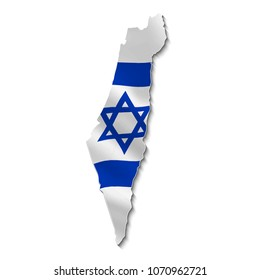 Map of Israel with national flag in 3d.