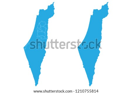 Israel And Palestine World Map.Map Israel Palestine Couple Set Map Israel Palestine Vector Stock
