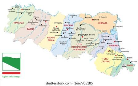 map of the Italian region Emilia Romagna with provinces and flag