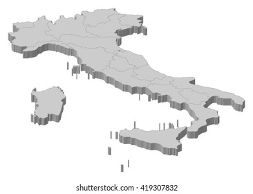 Map - Italy - 3D-Illustration