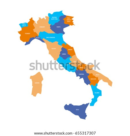 Map Italy Divided Into 20 Administrative Stock Vector Royalty Free