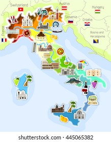 Map of Italy with icons - vector illustration
