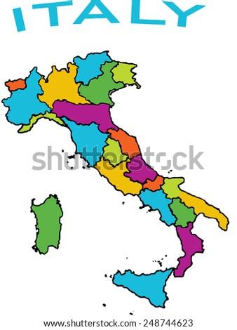 Map Of Italy Regions In Italian.Map Italy Italian Regions Stock Vector Royalty Free 248744623
