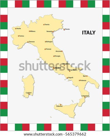 Map Of Italy With Main Cities.Map Italy Main Cities Map Colors Stock Vector Royalty Free