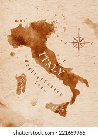 Map of Italy in old style, brown graphics in a retro style