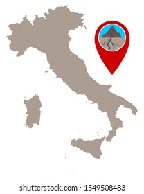 Map of Italy and pin with earthquake symbol