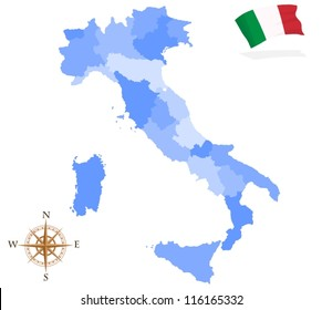 Map of Italy, regions