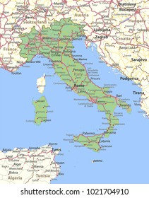 Map of Italy. Shows country borders, urban areas, place names and roads. Labels in English where possible.Projection: Mercator.