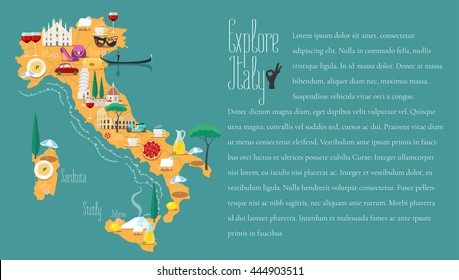 Map of Italy vector illustration, design. Icons with Italian Colosseum, Milan, Venice. Sicilia and Sardinia islands. Explore Italy concept image