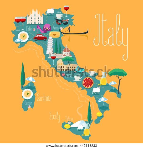 Italian Kartta Vektorikuva Suunnittelu Kuvakkeet Italian