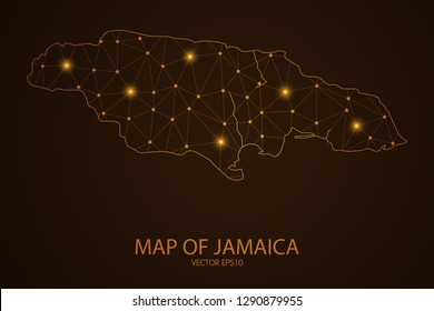 Map of Jamaica - Abstract mash line and point scales on dark background. 3D mesh polygonal network connections.Vector illustration eps 10.