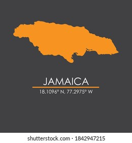 Map of Jamaica with coordinates isolated in dark gray background