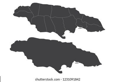 Map - Jamaica Couple Set , Map of Jamaica,Vector illustration eps 10.
