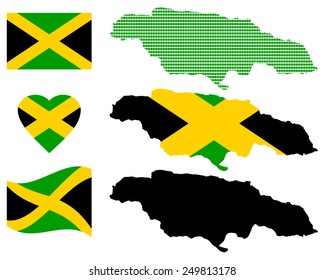 Map of Jamaica and the different types of characters on a white background