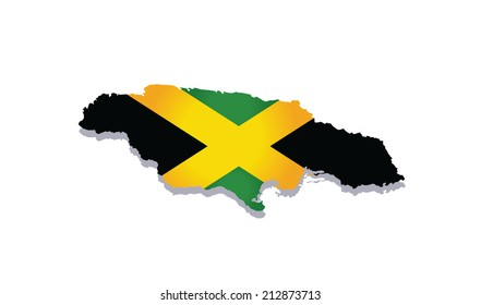 map of jamaica with the image of the national flag
