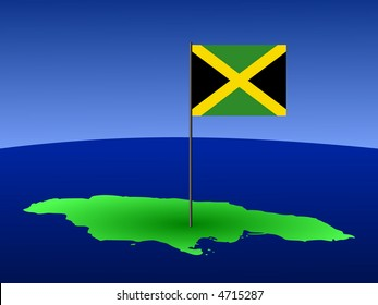 map of Jamaica and Jamaican flag on pole illustration
