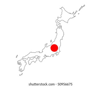 map of Japan filled with flag of the state