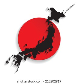 Map of Japan with the flag background. vector illustration