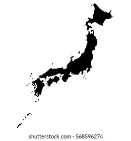 Map of Japan in high resolution. Detailed vector illustration.