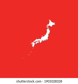 Map of Japan isolated on red background, Vector Illustration EPS 10