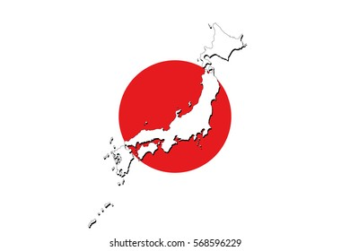 Map of Japan on a flag background in high resolution. Detailed vector illustration.