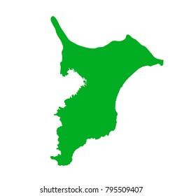 Map of Japan. terrain.Chiba