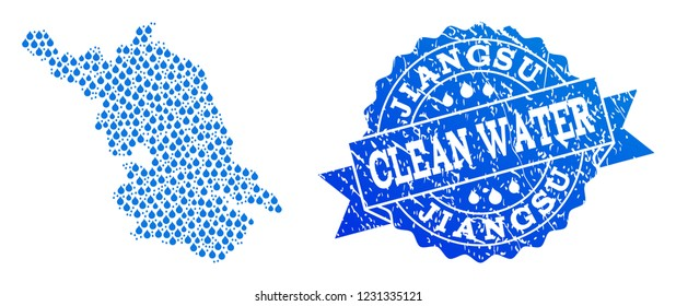 Map of Jiangsu Province vector mosaic and clean water grunge stamp. Map of Jiangsu Province composed with blue aqua drops. Seal with grunge rubber texture for natural drinking water.