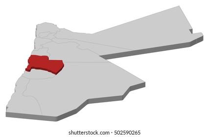 Map - Jordan, Karak - 3D-Illustration