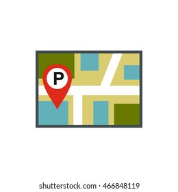 Map of JPS with a parking sign icon in flat style isolated on white background. Search symbol