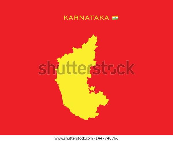 Map Karnataka States India Federated States Stock Vector ... on gujarat state india map, bellary karnataka india map, bihar state india map,