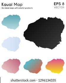Map of Kauai with beautiful gradients. Artistic set of Kauai maps. Pleasant vector illustration.