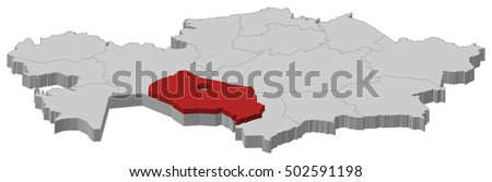 Map Kazakhstan Kyzylorda 3 D Illustration Stock Vector (Royalty Free ...