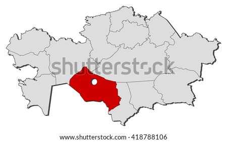 Map Kazakhstan Kyzylorda Stock Vector (Royalty Free) 418788106 ...