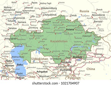 Map of Kazakhstan. Shows country borders, urban areas, place names and roads. Labels in English where possible.Projection: Mercator.