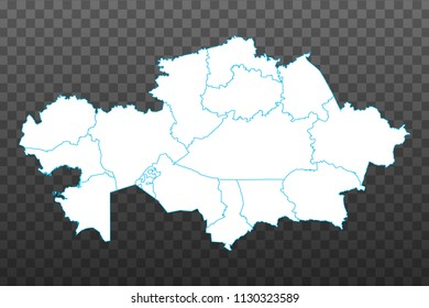 Map of Kazakhstan. Vector illustration on transparent background. Items are placed on separate layers and editable. Vector illustration eps 10.